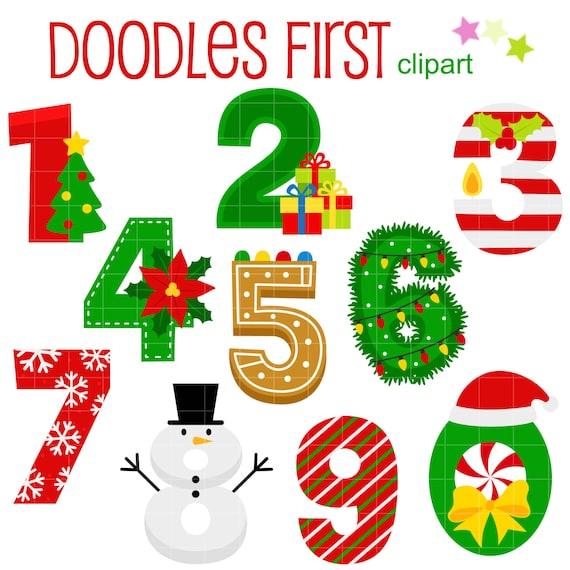 Christmas Numbers Digital Clip Art For Scrapbooking Card