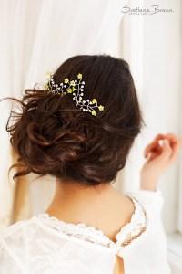 yellow hair accessories wedding bridal yellow floral hair ...