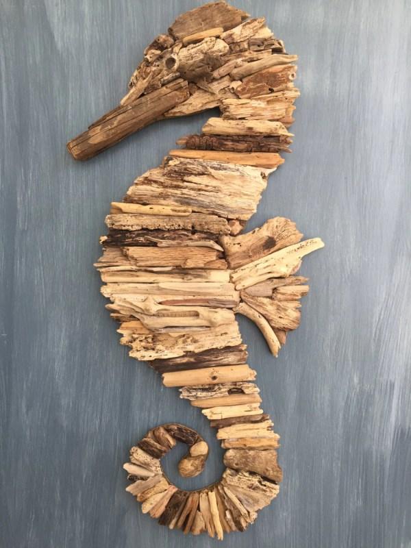 Driftwood Seahorse Coastal Wall Decor