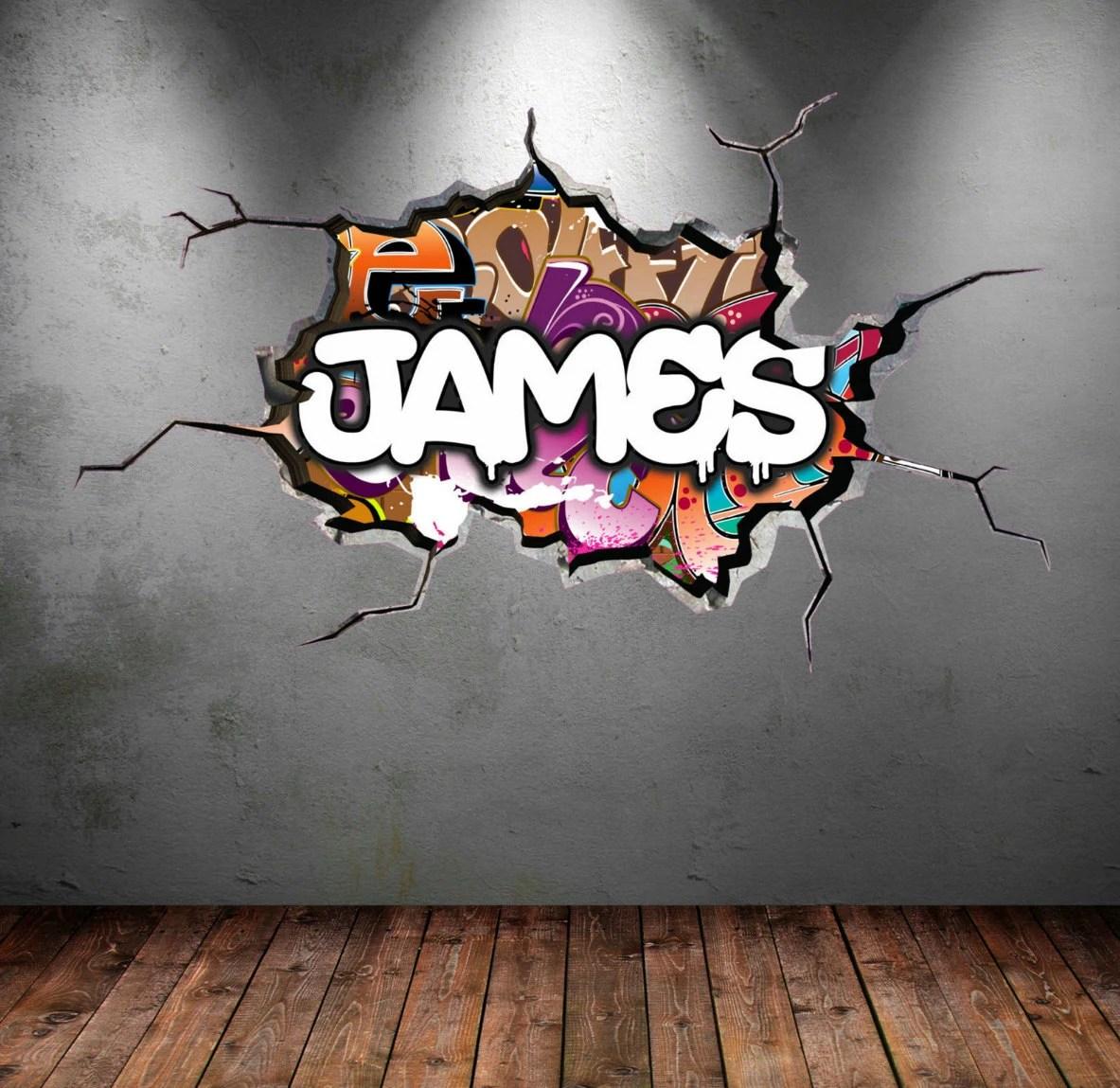 Personnalis Graffiti prnom sticker fissur mur 3D vinyle mur