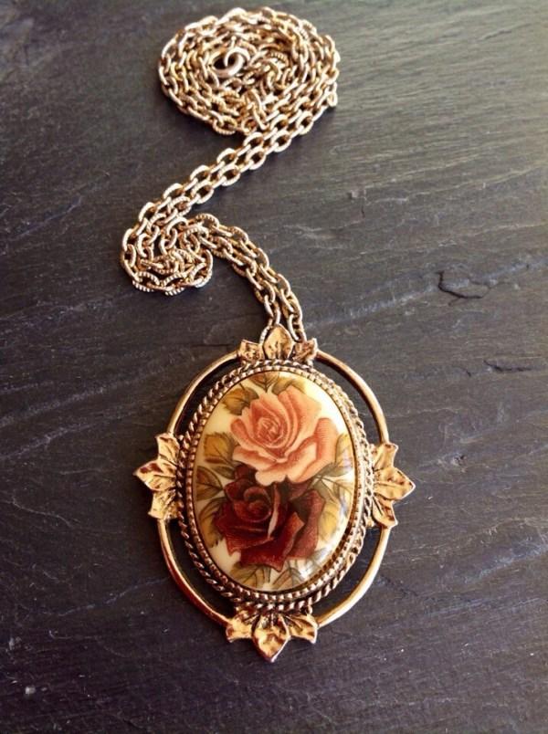 Sarah Coventry Rose Pendant Porcelain Pendant Vintage Necklace