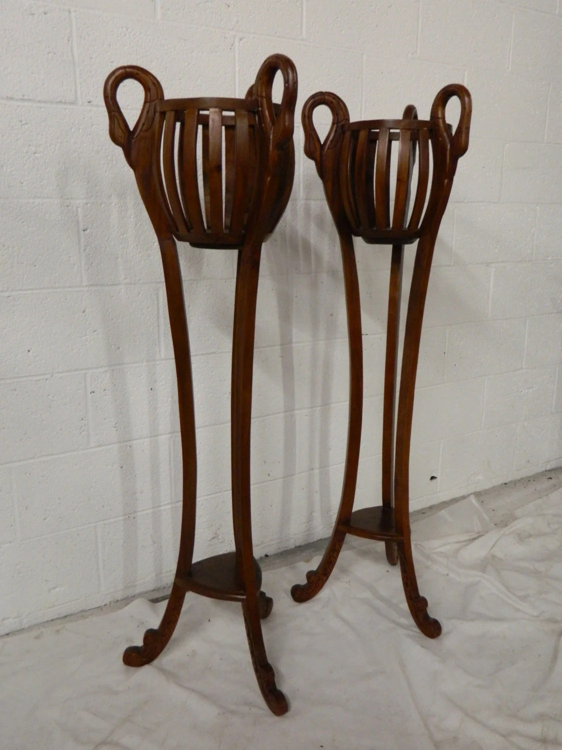 Pair Tall Wood Carved Swan Planters Wooden Plant Stands