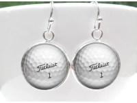 Golf Earrings Titleist Golf Ball Earrings by GirlPowerPendants