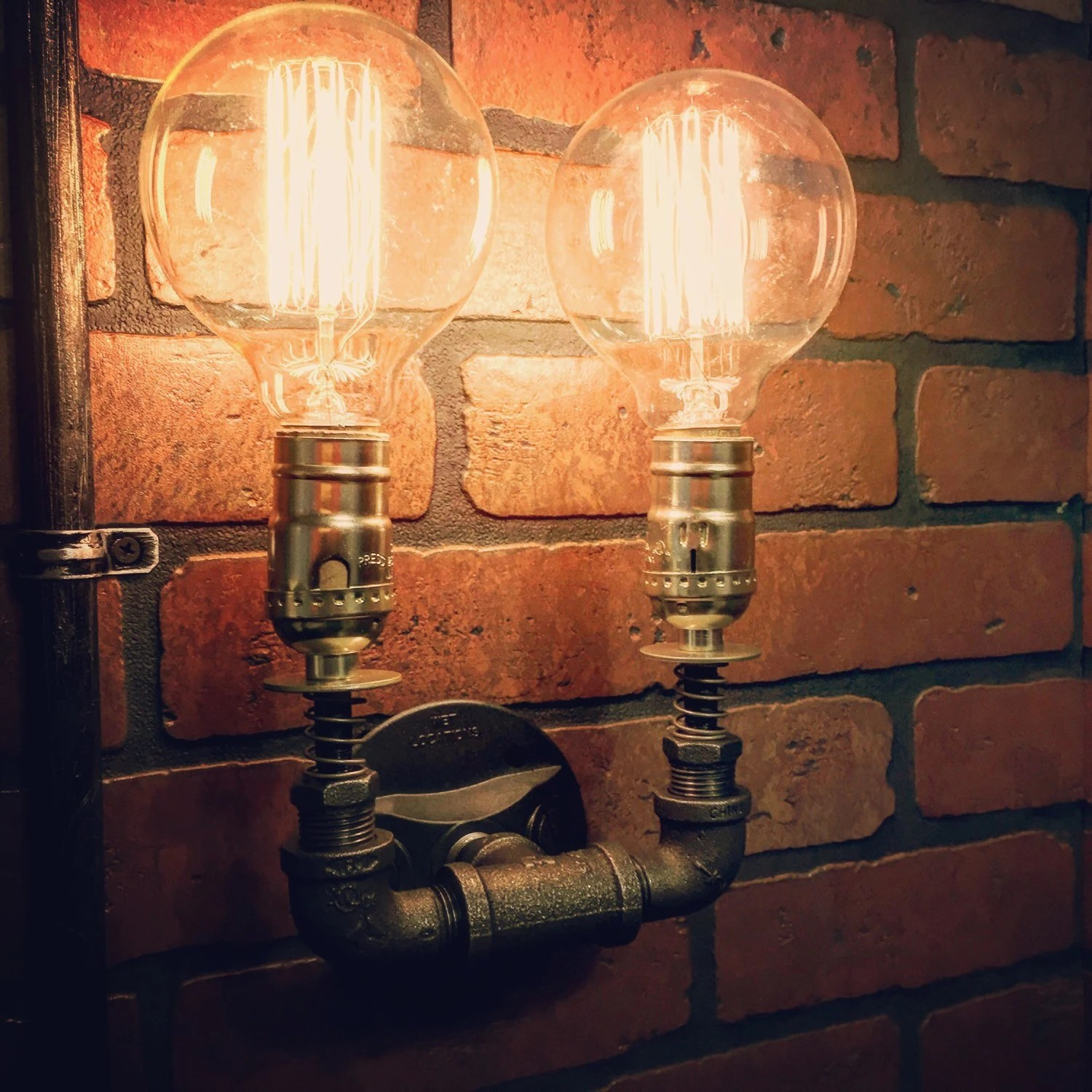 Steampunk Double Wall Sconce light with copper springs Home