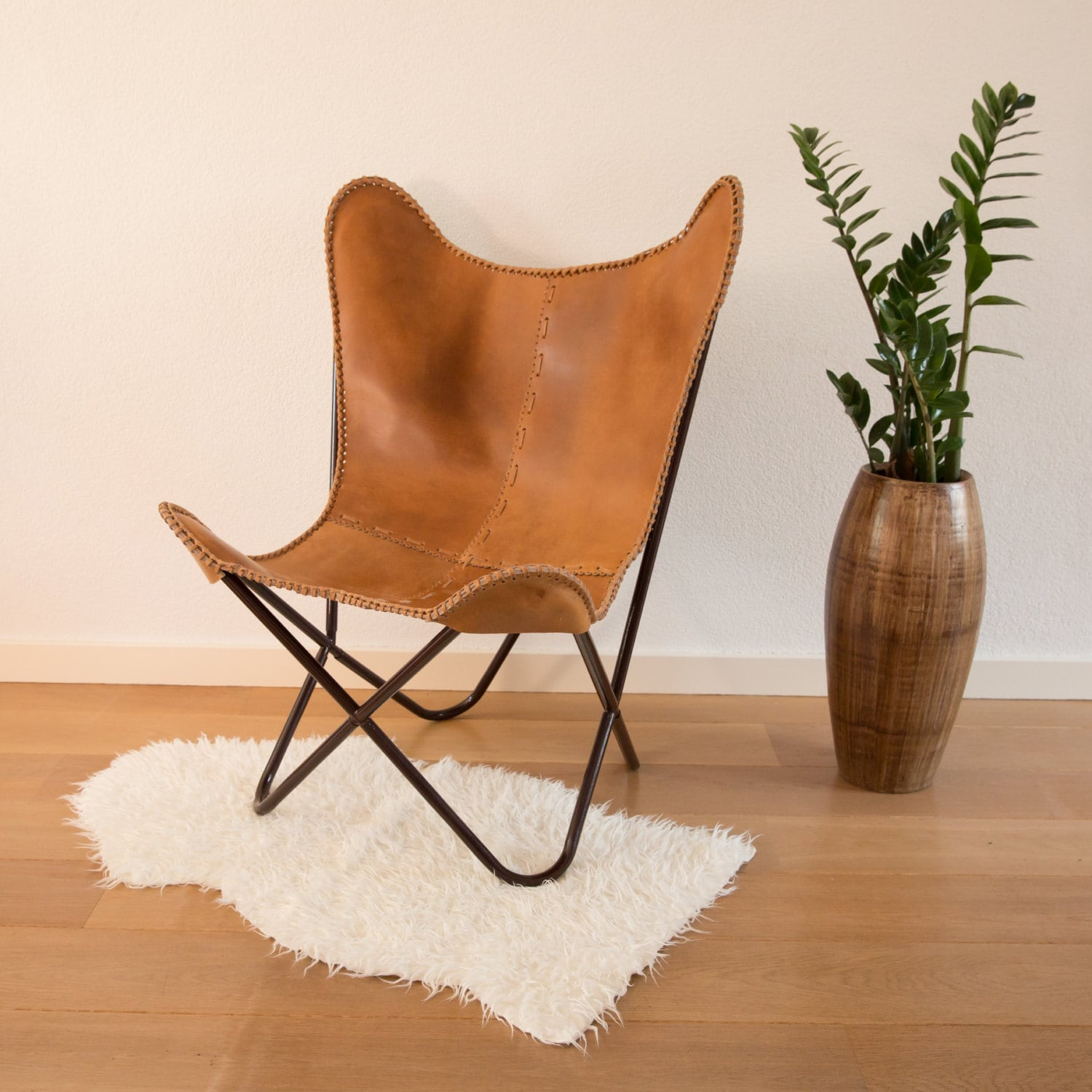 White Butterfly Chair Butterfly Chair Cognac