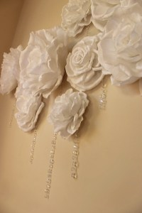 Crepe Paper Flower Wall Hanging Crystals Baby Shower Decor