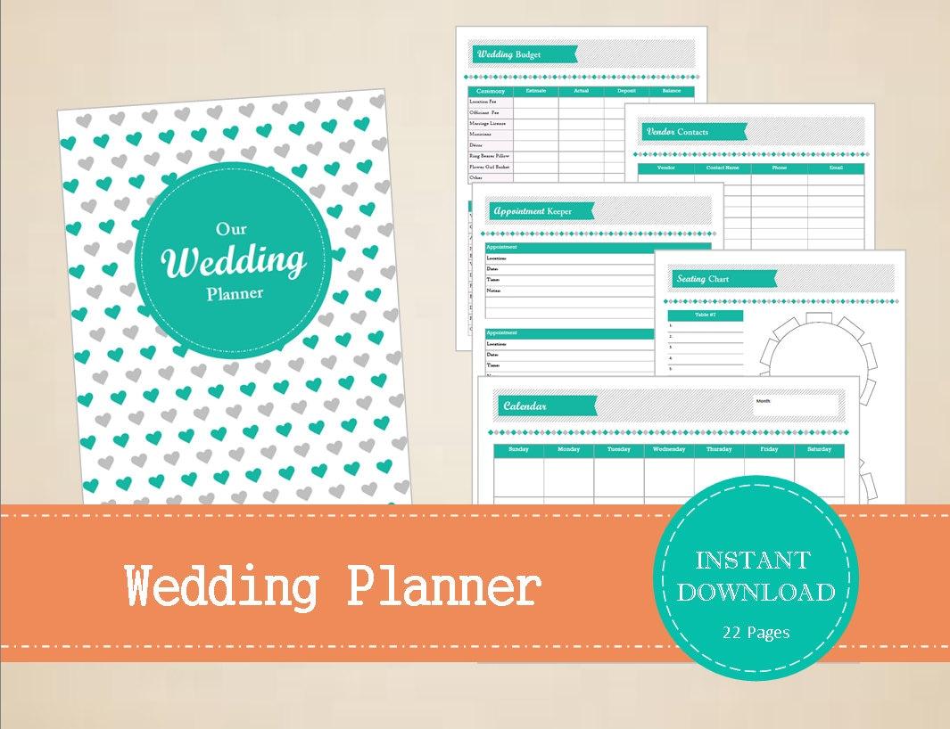 Wedding Planner Wedding Binder Printable And Editable