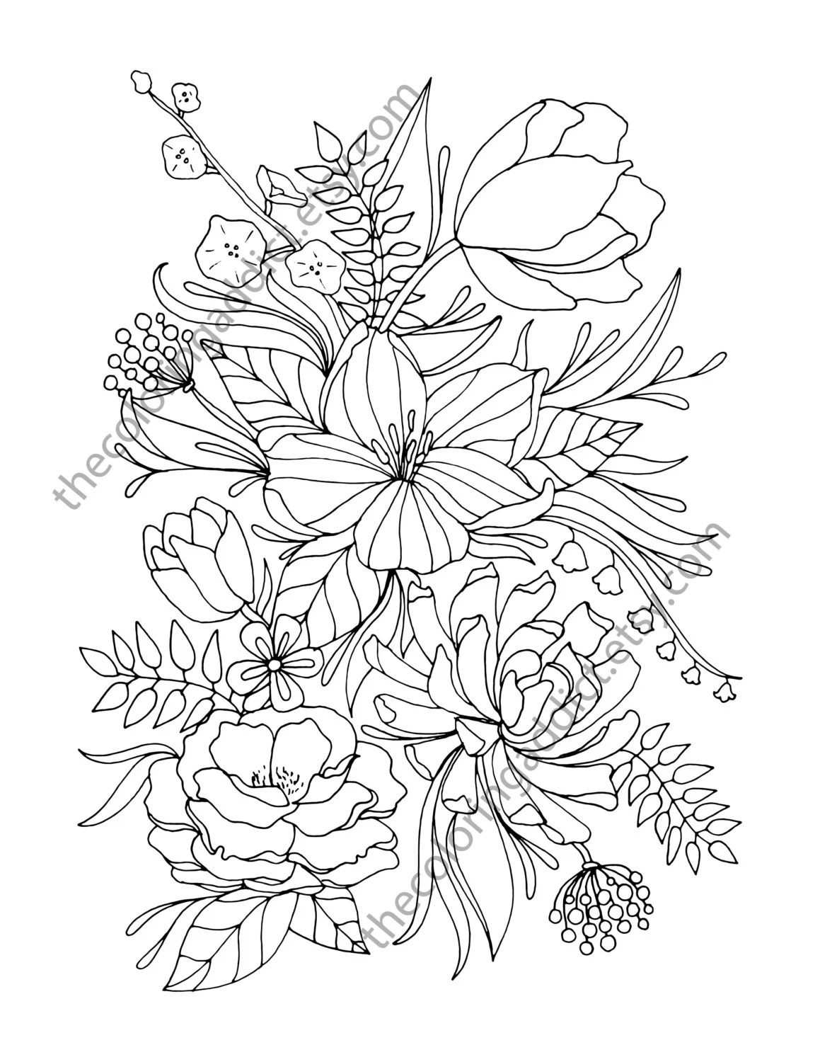 floral coloring page adult coloring page by TheColoringAddict