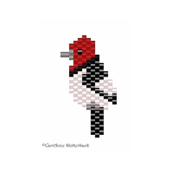 Items similar to Red-headed Woodpecker Mini 1 beading