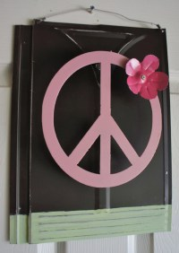 Metal Peace Sign with Flower Wall Decor 3