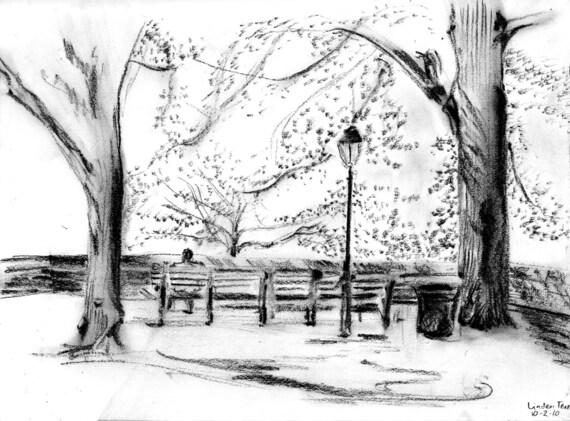 Linden Terrace Ft Tryon Park pencil and charcoal drawing