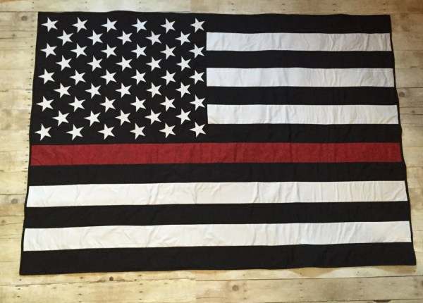 Thin Red Line American Flag Quilt Military Firefighter