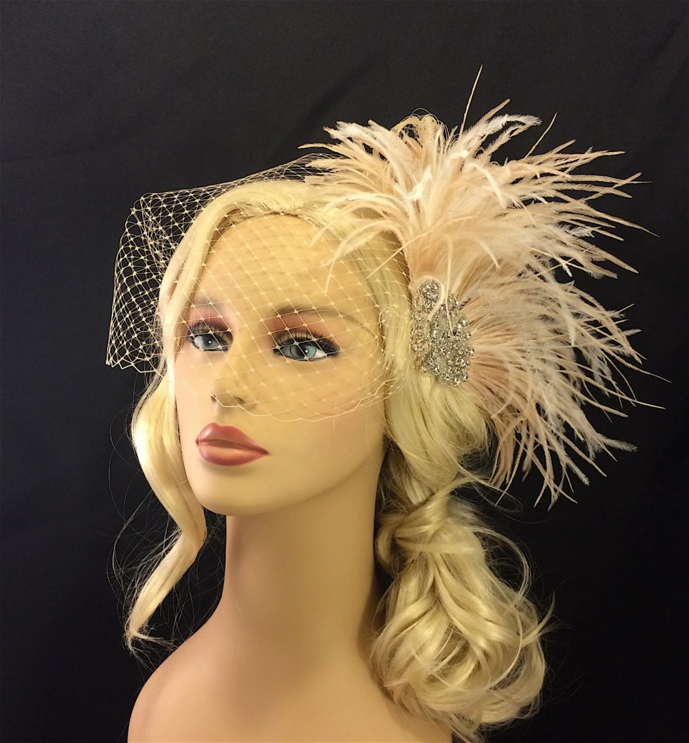 Fascinator,  Rhinestone Bridal Feather Fascinator, Champagne Feather Fascinator, Bridal Headpiece, Wedding Hair Accessory, Wedding Veil
