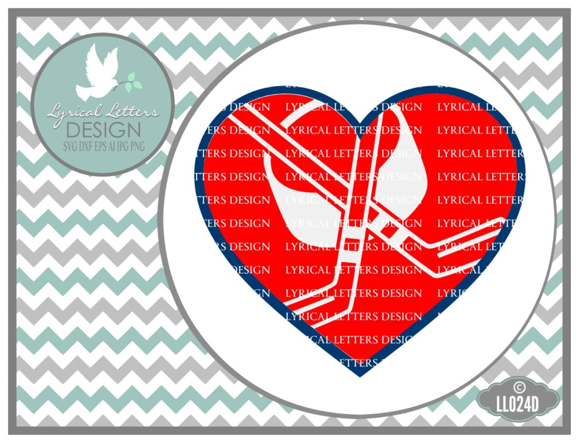 Download Hockey Love Heart with Puck and Sticks Hockey SVG Sports SVG