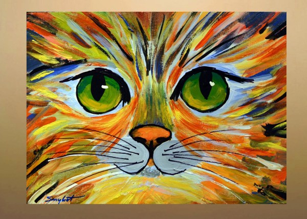 Colorful Kitty Original Abstract Cat Portrait Painting Acrylic