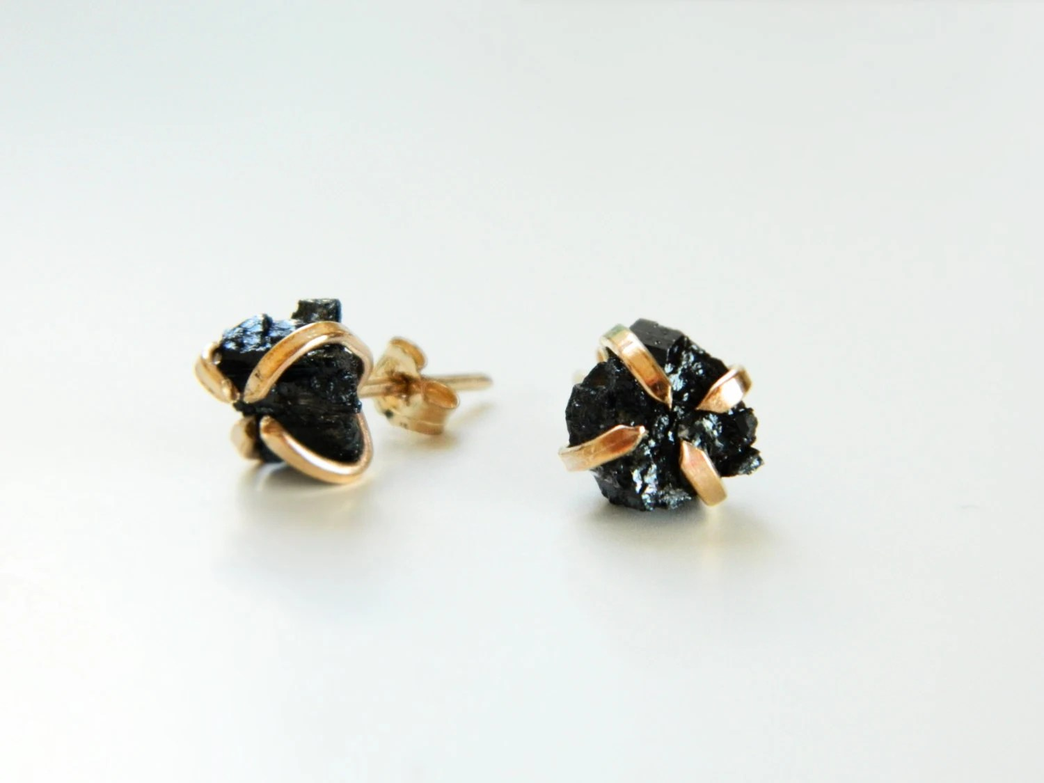 Black Tourmaline Earrings Tourmaline Stud Earrings