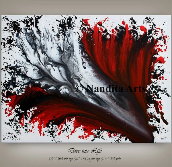 Wall Art Acrylic Painting Red Decor