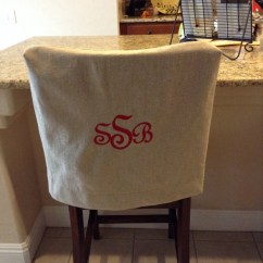 Chair Back Covers For Dining Room Chairs Two Person Table And Monogrammed Cover Natural Linen Washable Fabric