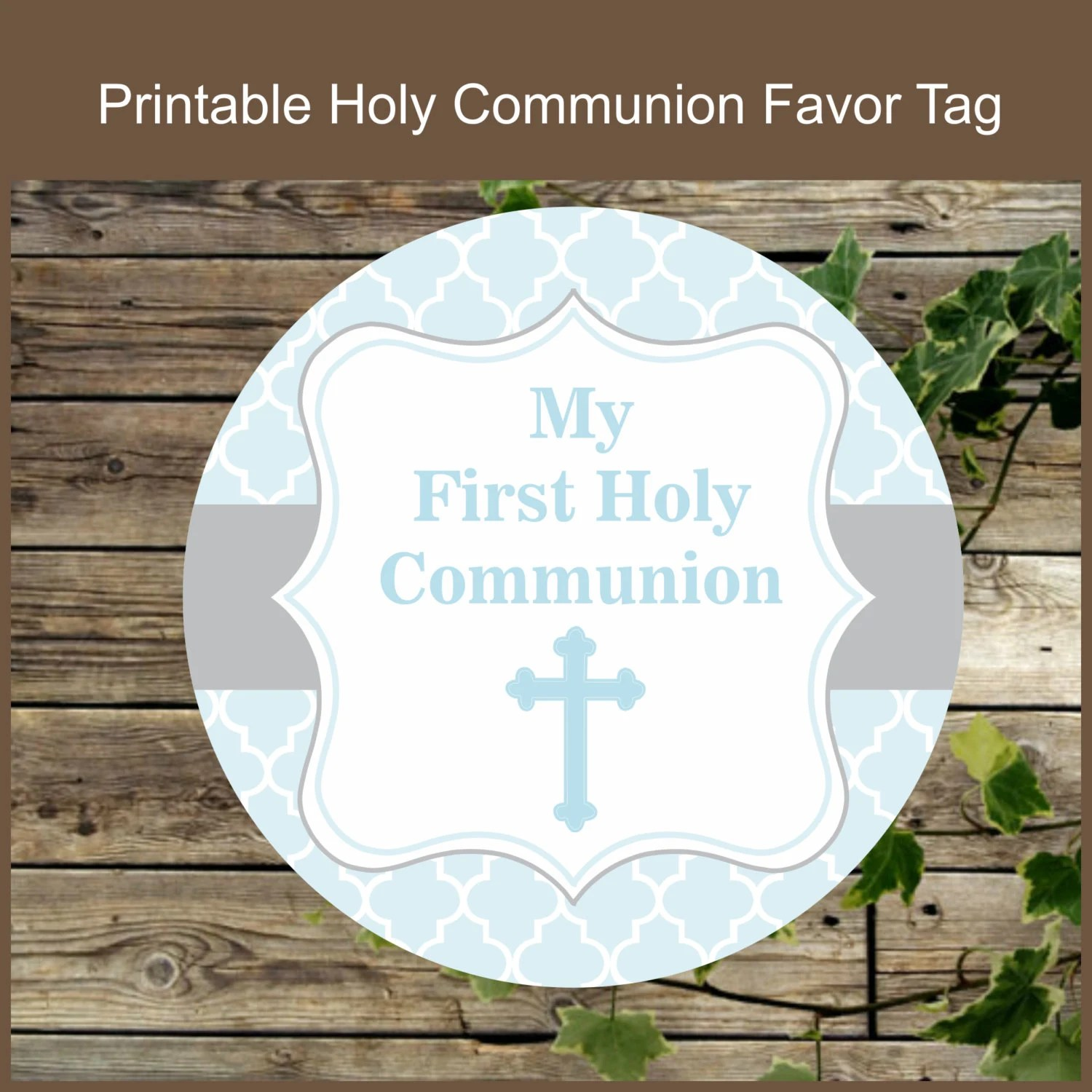 First Holy Communion Printable Favor Tag Instant Download