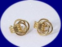 Vintage Earrings Vintage Monet Gold Tone Clip On Earrings