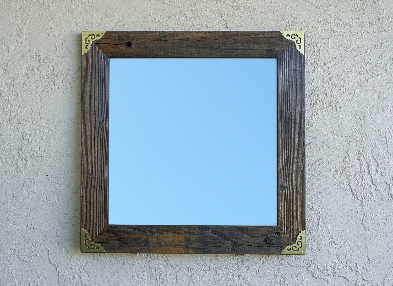 Reclaimed Wood Mirror With Gold Metal Corners. Rustic Mirror