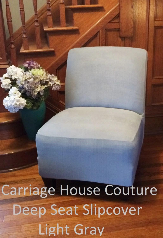 slipcover for armless slipper chair office task light gray suede cover