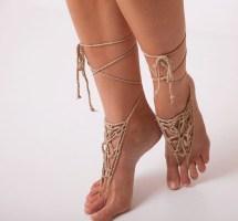 Crochet Barefoot Sandals Beige Boho Beach Women