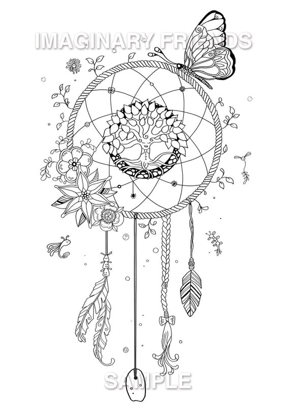 Dream Catcher Coloring Page A4 size 210 297mm / A3