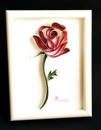 Rose Paper Quilled Framed Single Red Rose Quilled by ...