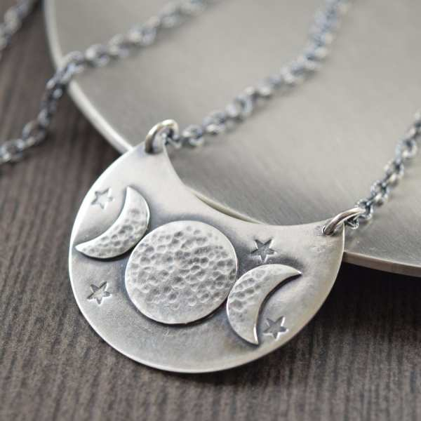 Triple Moon Goddess Necklace Crescent