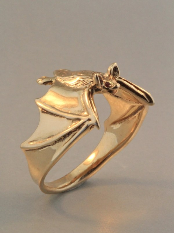 Gold Bat Ring Jewelry Classic With Ruby
