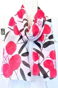 Silk Scarf Handpainted Japanese Silk Scarf Red Primroses