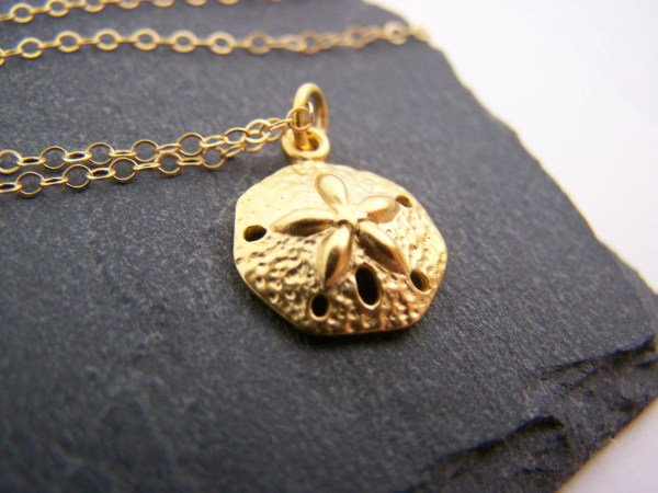 Dainty Sand Dollar Necklace 14k Gold Fill Simple