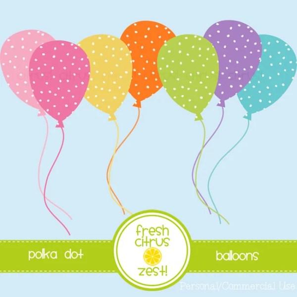 polka dot balloons clip art