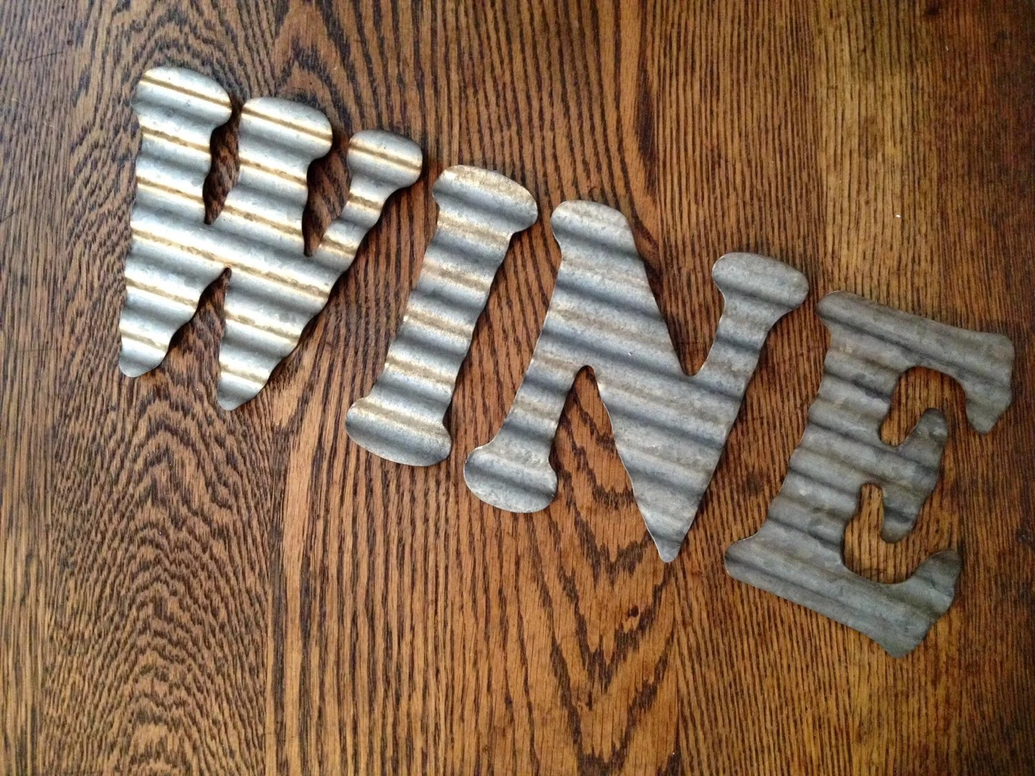 Items Similar To Galvanized Metal Letters WINE Industrial