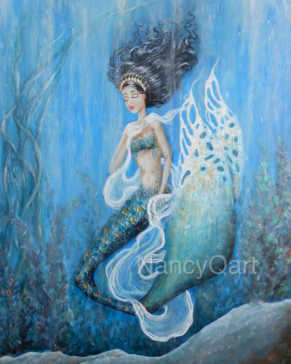 Original Blue Mermaid Painting Princess 16x20 Wall
