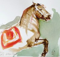 original painting HORSE sepia ink watercolor by Cheval2couleur
