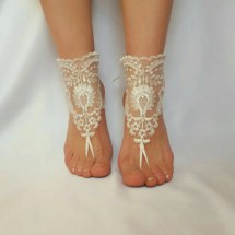 Ivory Silver Frame Beach Wedding Barefoot Sandals Shoes Anklet