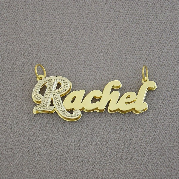 Personalized Jewelry 10k 14k Gold Double Plate Pendant