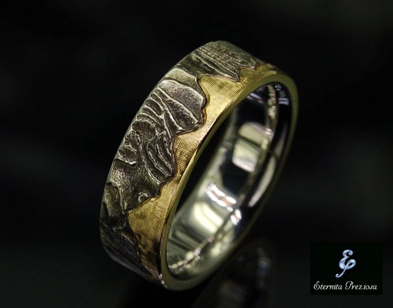 7mm Unique Mens Wedding Band Rustic Wedding Ring Mens