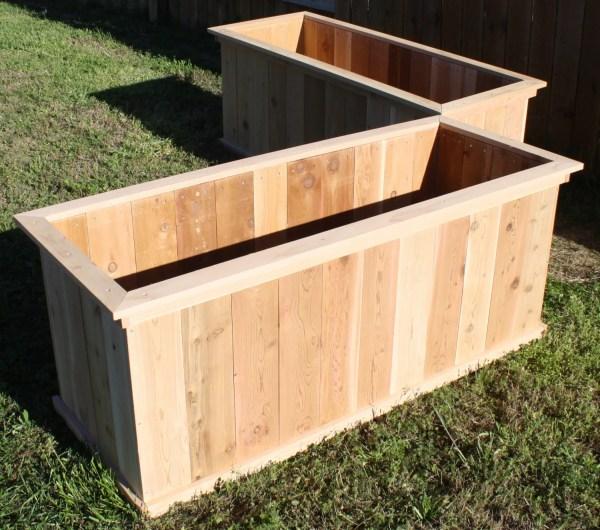 Two Brand Large Open Base Cedar Garden Planter Boxes