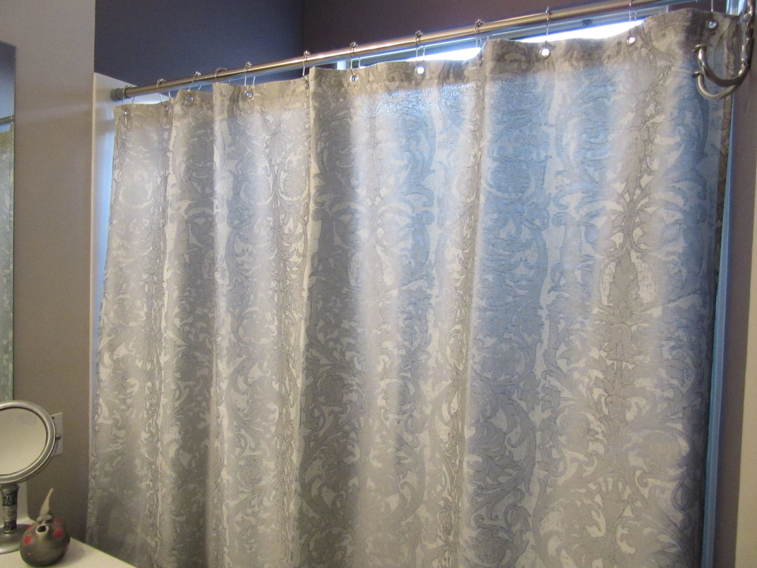 Silver and White Damask Shower Curtain with Nickel Plated