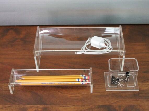 Clear Acrylic Lucite Desk Organizer Set