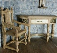12th scale Desk chair set Medieval Tudor by LadyLancelotMinis