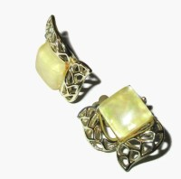 CORO Thermoset Earrings Vintage Yellow Lucite Earrings