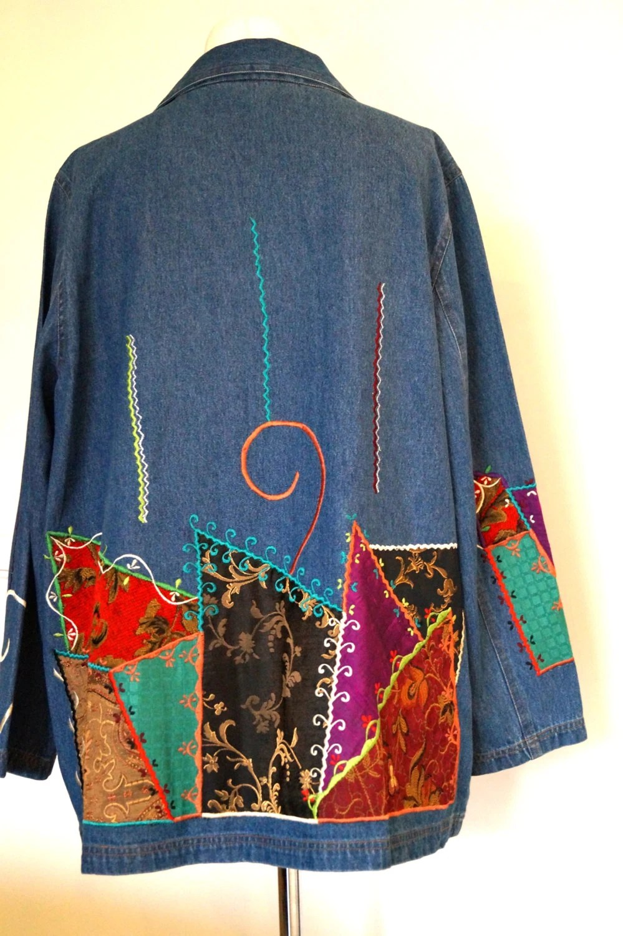 Womens Denim Jacket Blazer INDIGO MOON Large Size by vintagdesign