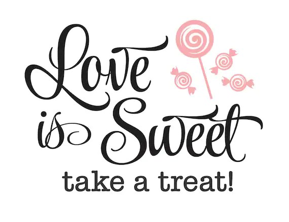 Download Wedding Decal Love is Sweet take a Treat bride and groom