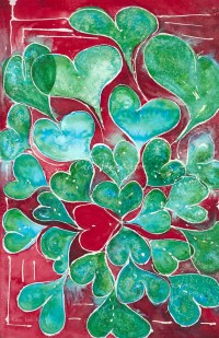 Turquoise Hearts ORIGINAL WATERCOLOR Oversized Wall art Red