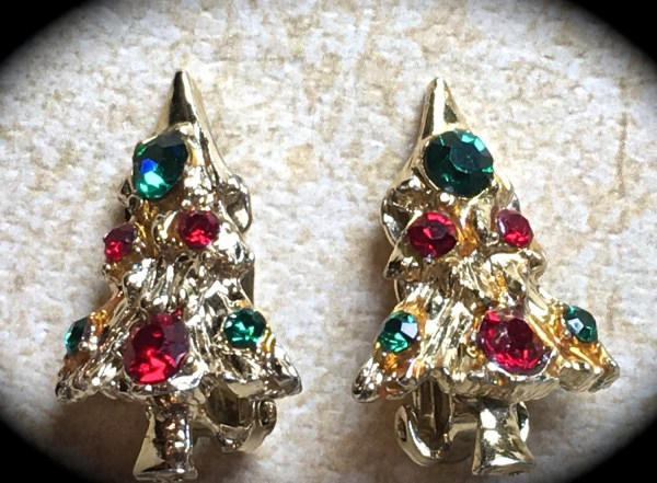 Christmas Tree Earrings Tree Earrings Vintage Christmas Tree