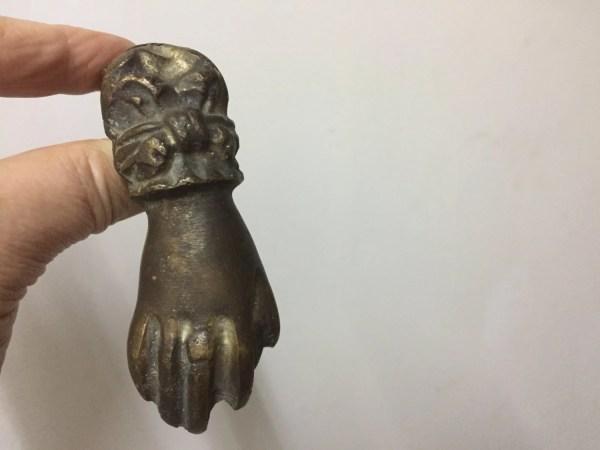 French Antique Bronze Door Knocker Ladies Hand With Ball